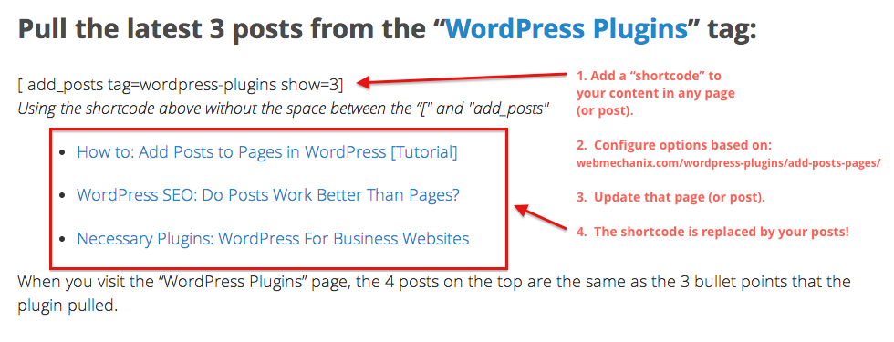 add-posts-to-pages screenshot 1