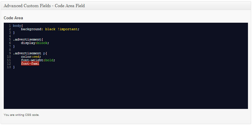 advanced-custom-fields-code-area-field screenshot 2