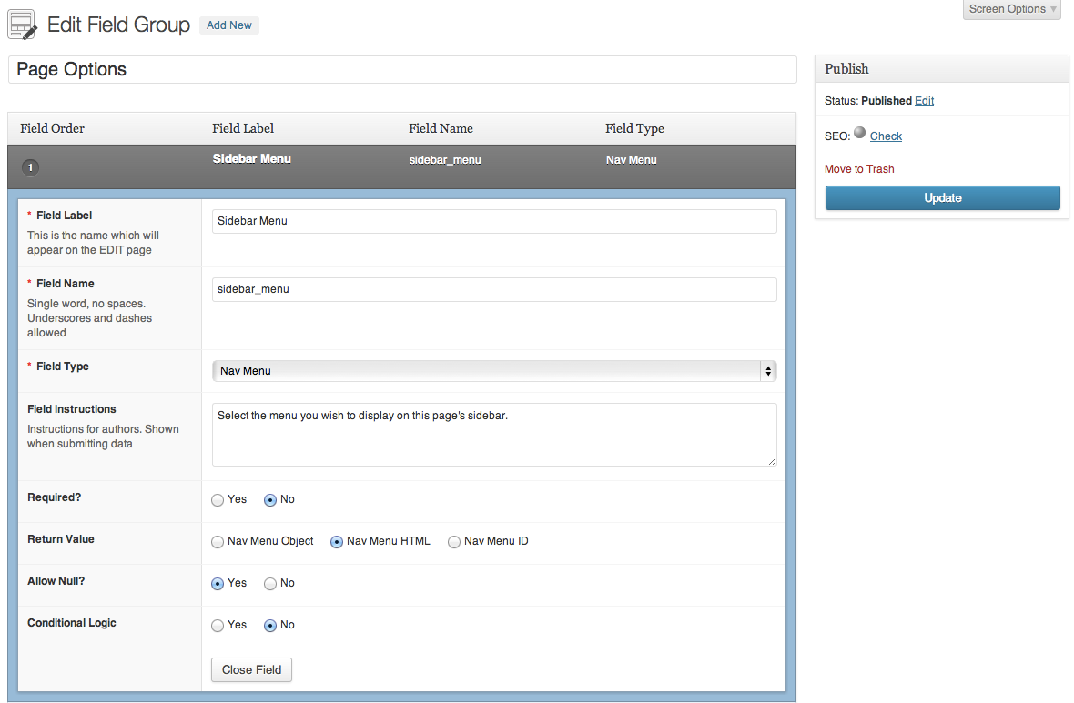 advanced-custom-fields-nav-menu-field screenshot 1