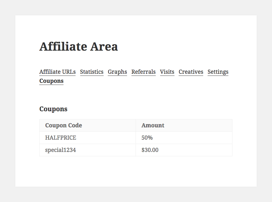 affiliatewp-show-affiliate-coupons screenshot 1