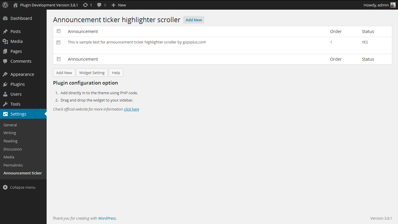 announcement-ticker-highlighter-scroller screenshot 2