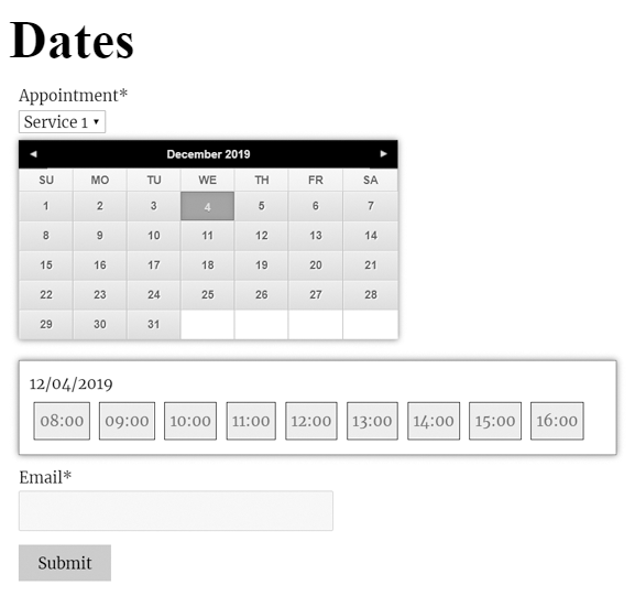 appointment booking form.