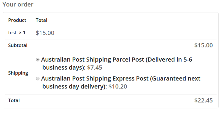 australian-post-woocommerce-extension screenshot 2