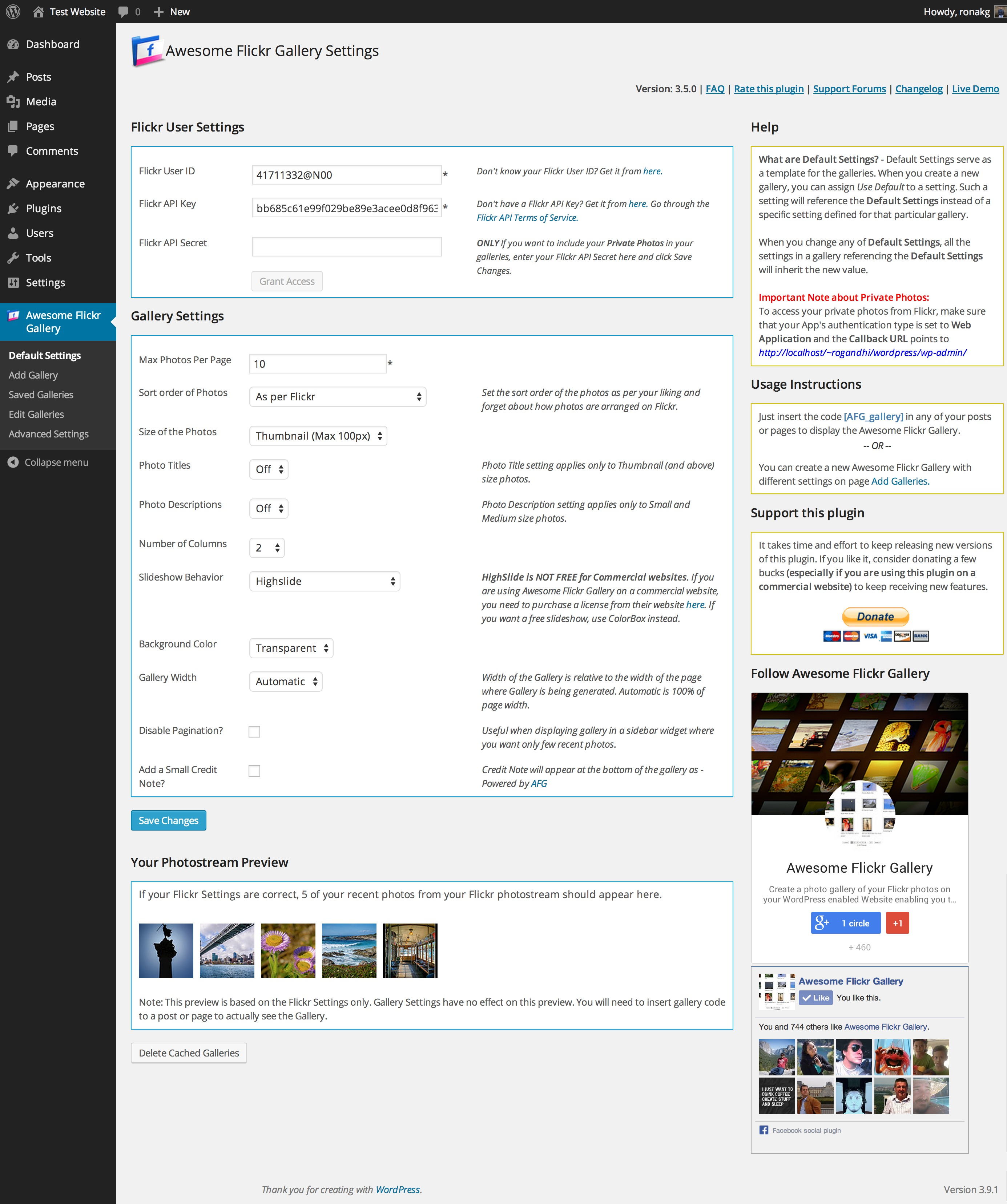 awesome-flickr-gallery-plugin screenshot 4