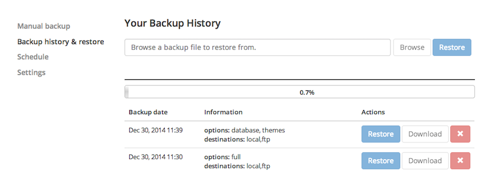 backup-wp screenshot 2