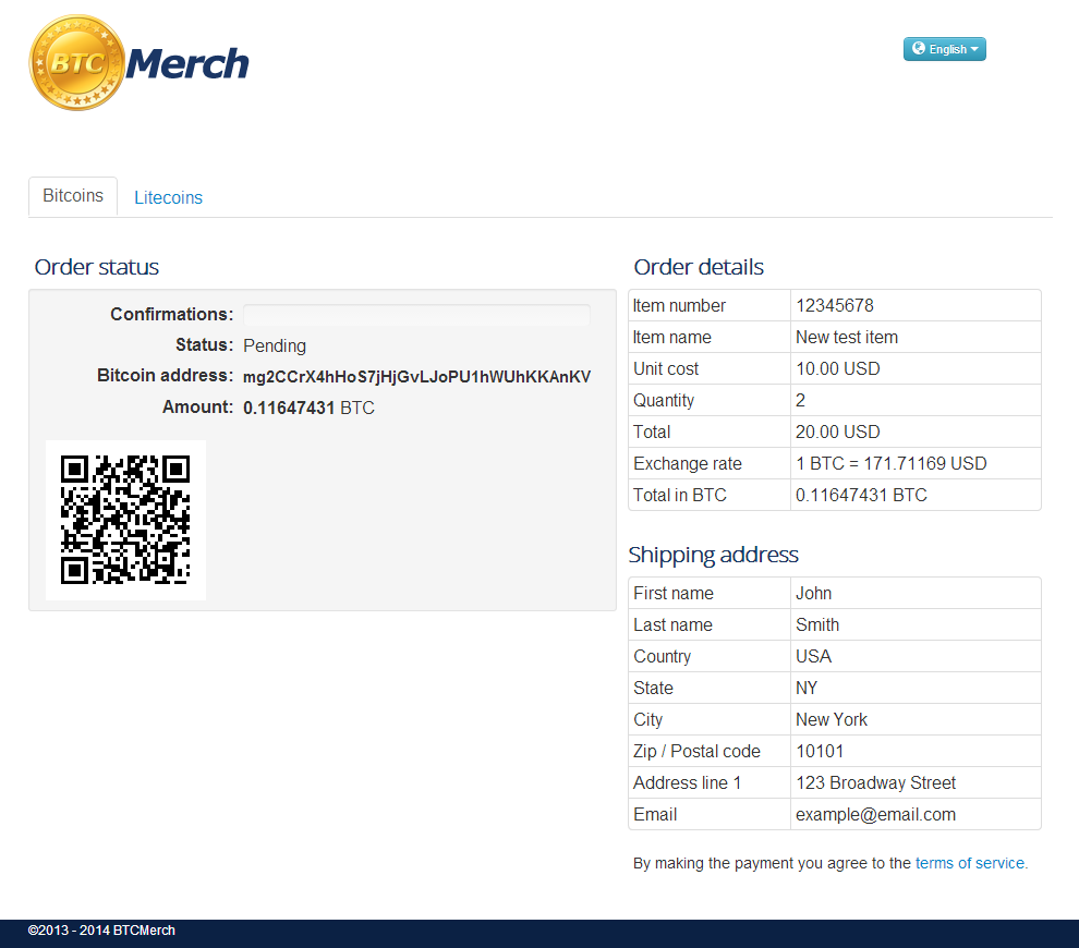 bitcoins-and-litecoin-for-wp-woocommerce screenshot 1