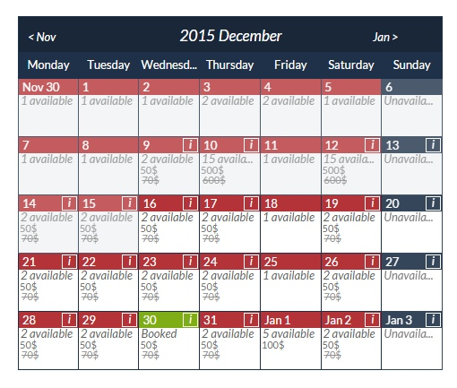 booking-calendar screenshot 1