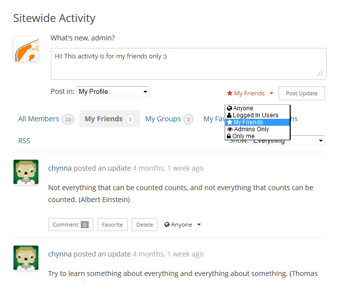buddypress-activity-privacy screenshot 1