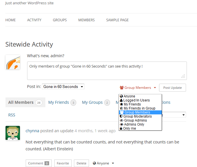 buddypress-activity-privacy screenshot 2