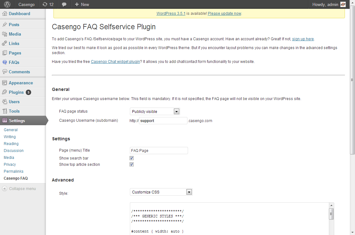 casengo-faq-web-self-service-plugin screenshot 2