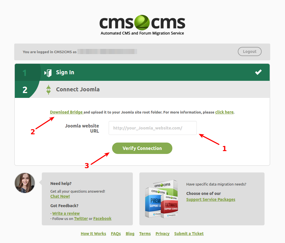 cms2cms-joomla-to-wp-migration screenshot 2
