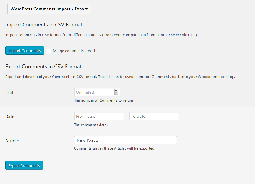 comments-import-export-woocommerce screenshot 1