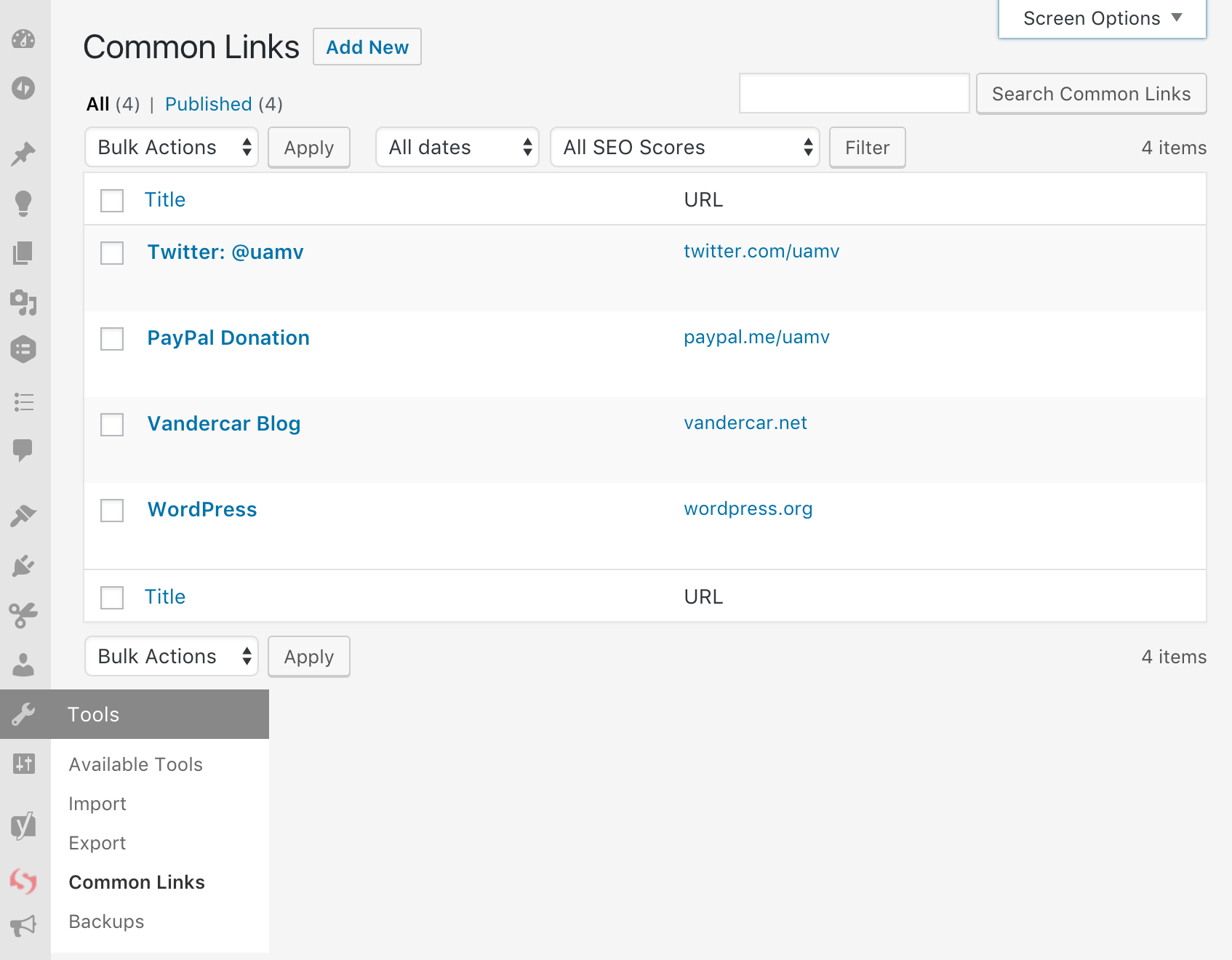 common-links screenshot 2