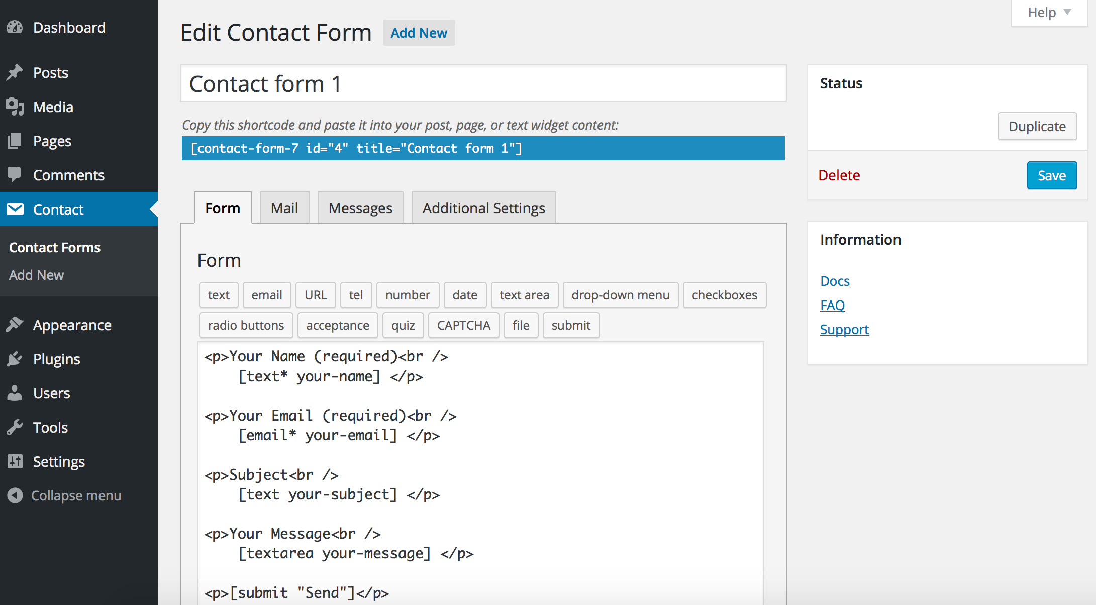 contact-form-7 screenshot 1