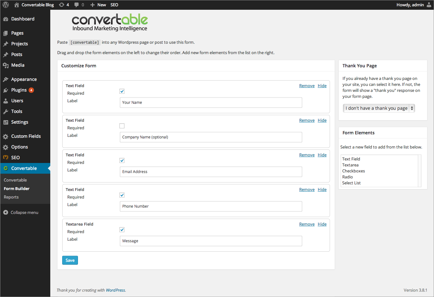 convertable-contact-form-builder-analytics-and-lead-management-dashboard screenshot 1