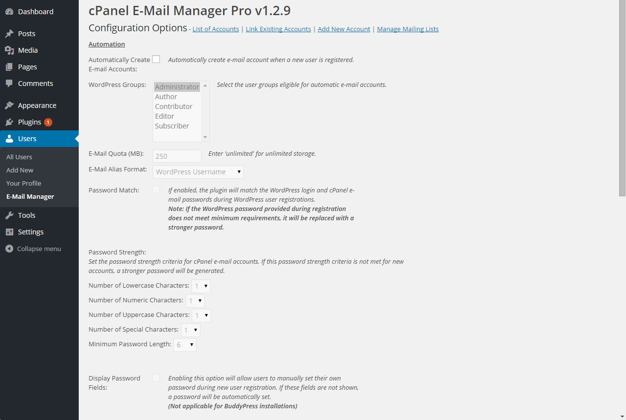cpanel-e-mail-manager screenshot 1
