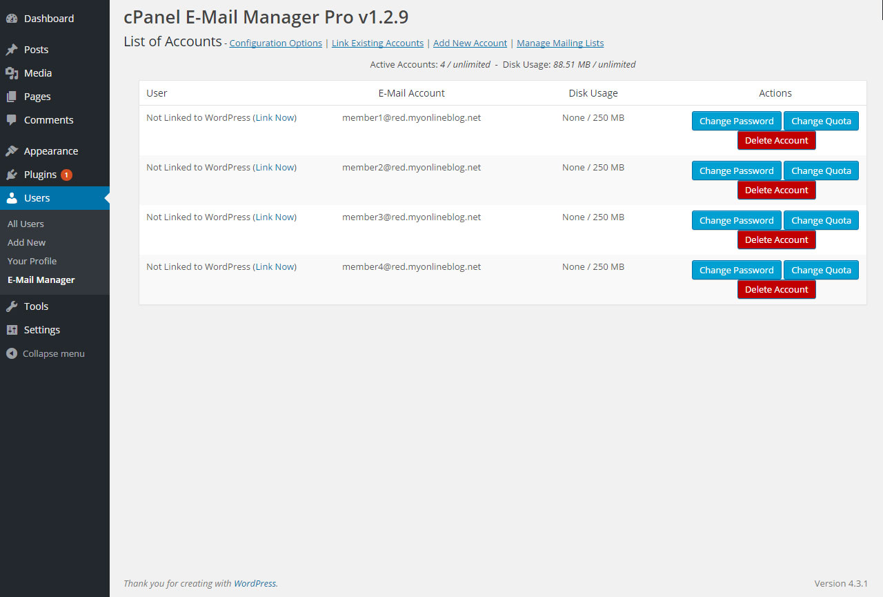 cpanel-e-mail-manager screenshot 4