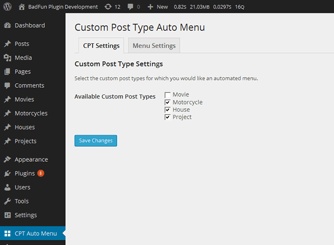 custom-post-type-auto-menu screenshot 1