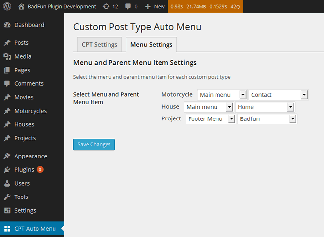 custom-post-type-auto-menu screenshot 2