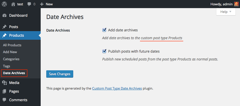 custom-post-type-date-archives screenshot 1