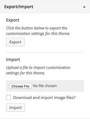 customizer-export-import screenshot 1