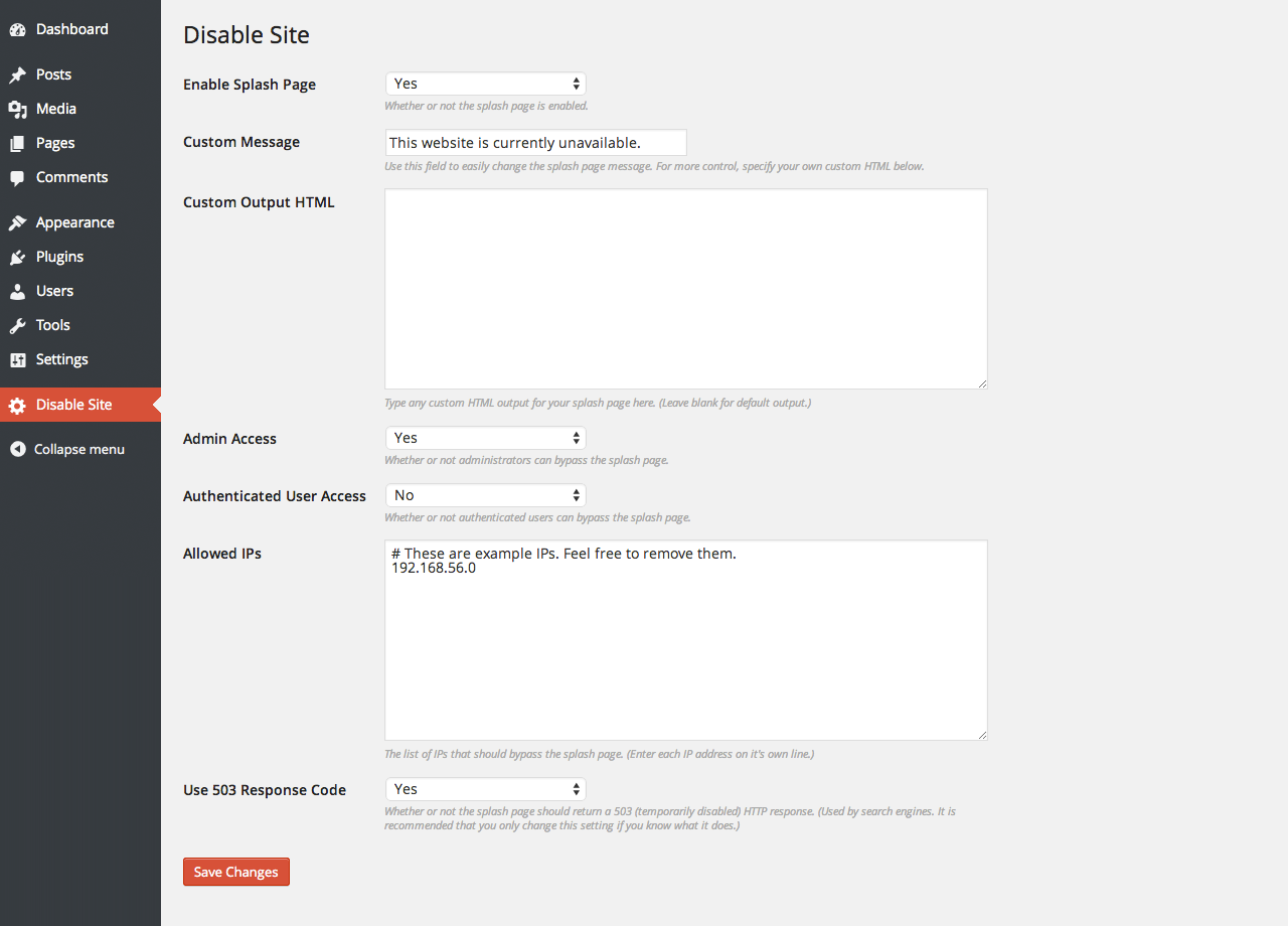 disable-site screenshot 1