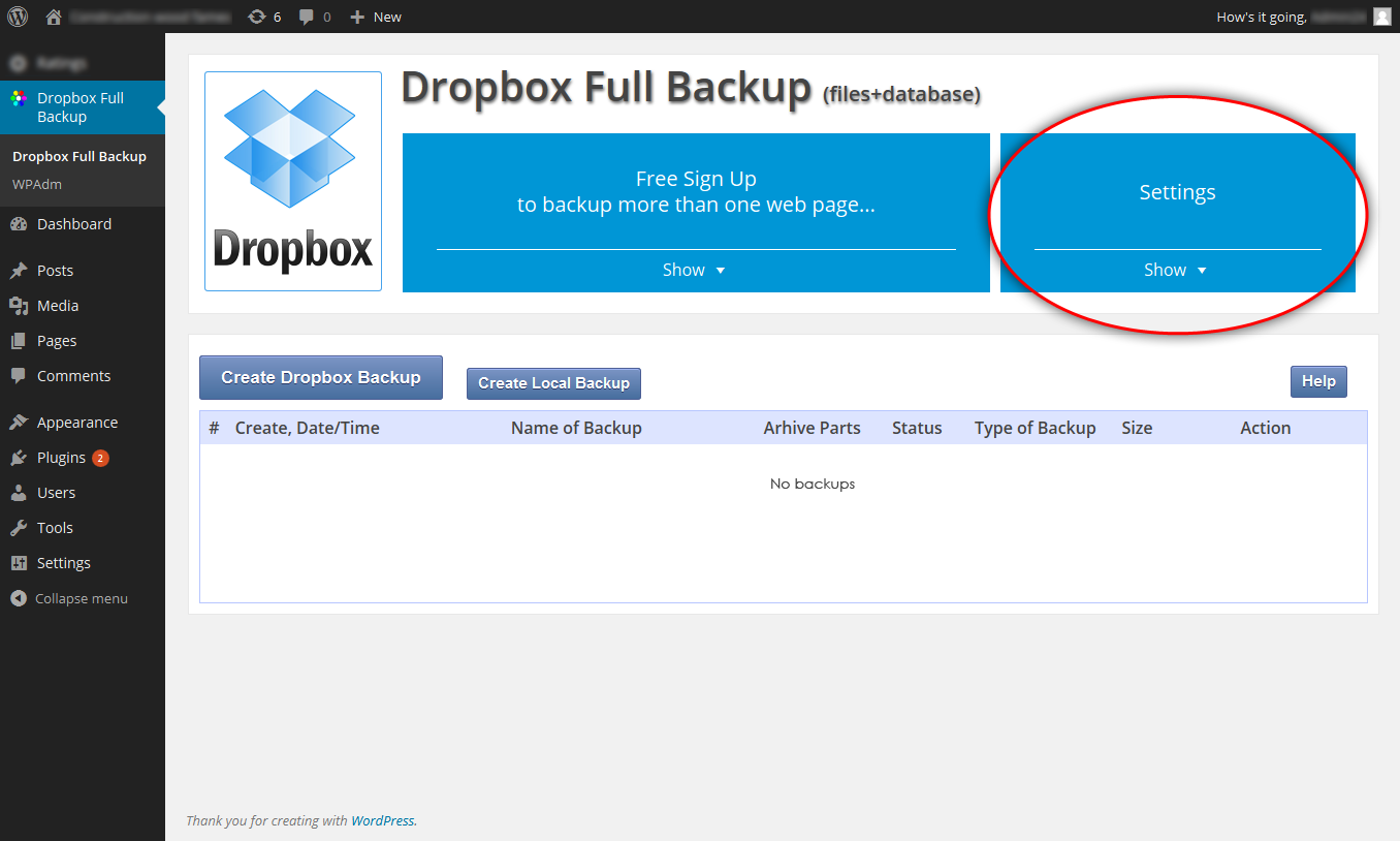 dropbox-backup screenshot 3