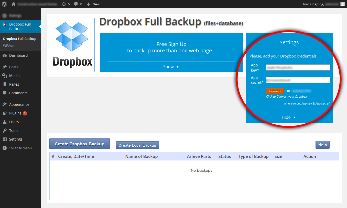 dropbox-backup screenshot 4