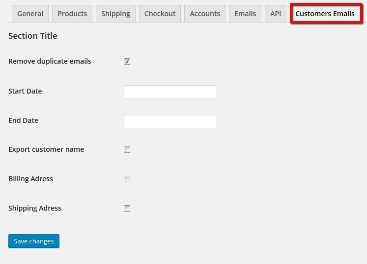 ds-woocommerce-order-email-export screenshot 1