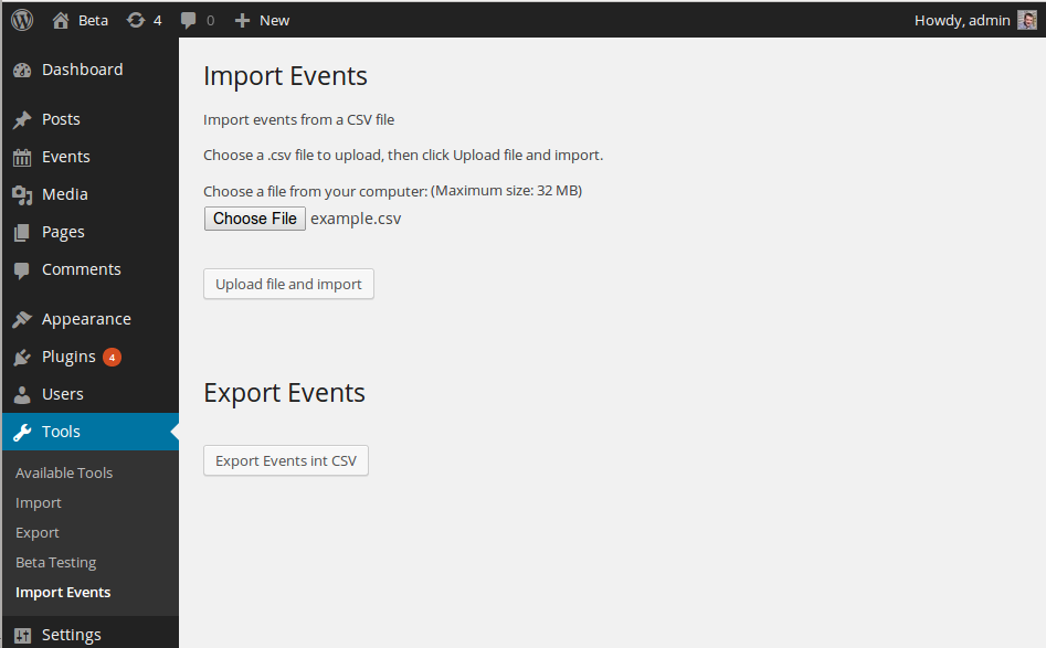 event-organiser-csv screenshot 1