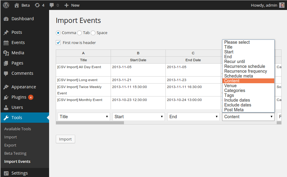 event-organiser-csv screenshot 2