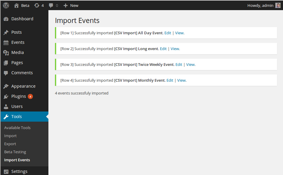 event-organiser-csv screenshot 3