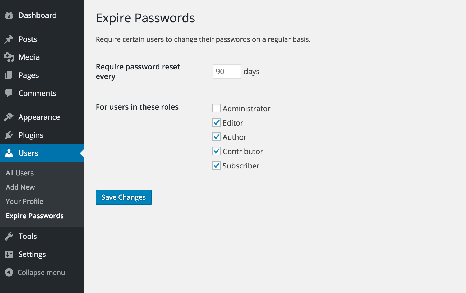 expire-passwords screenshot 1