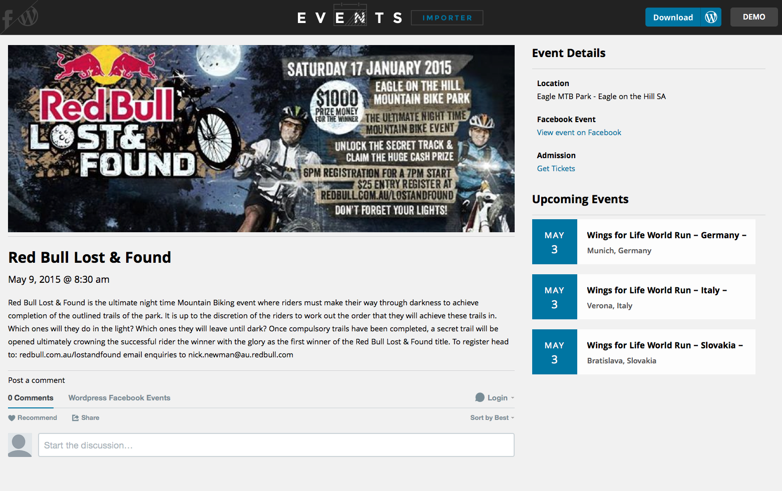 facebook-events-importer screenshot 1