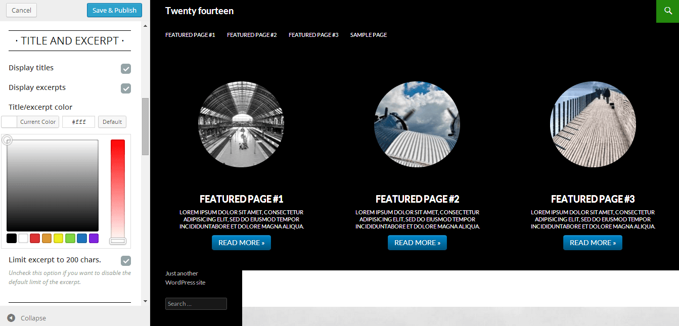 featured-pages-customizer screenshot 1