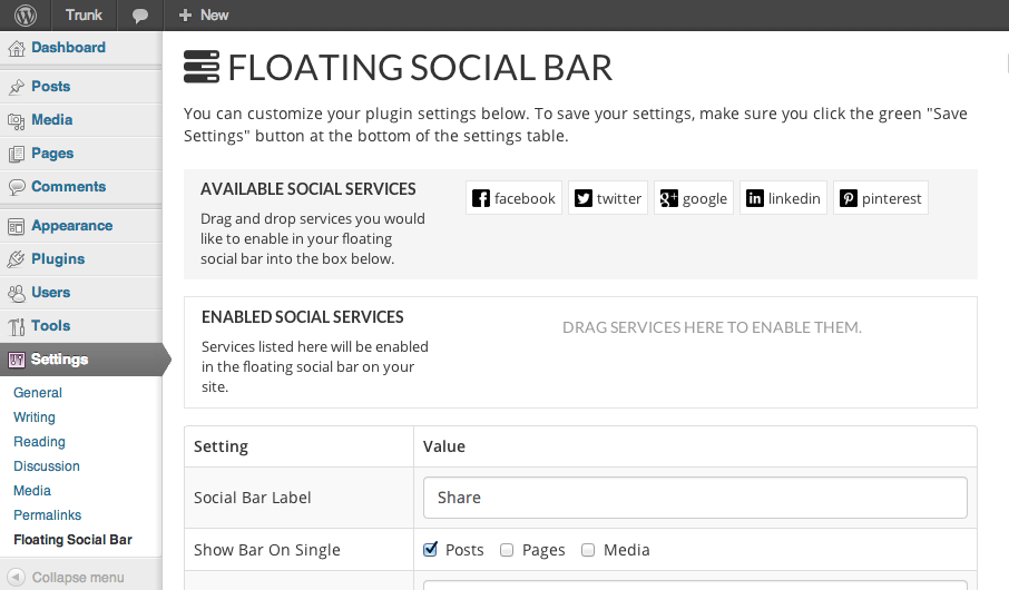 floating-social-bar screenshot 1