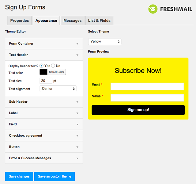 freshmail-integration screenshot 1
