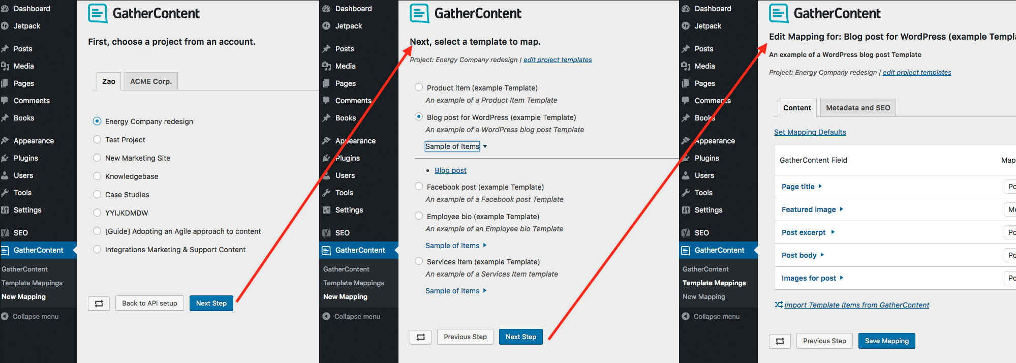 gathercontent-import screenshot 1