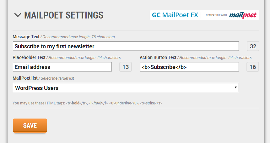 gc-mailpoet-ex screenshot 2