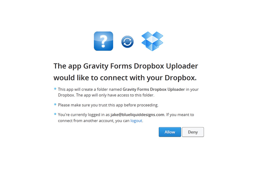 gravity-forms-dropbox-uploader screenshot 3