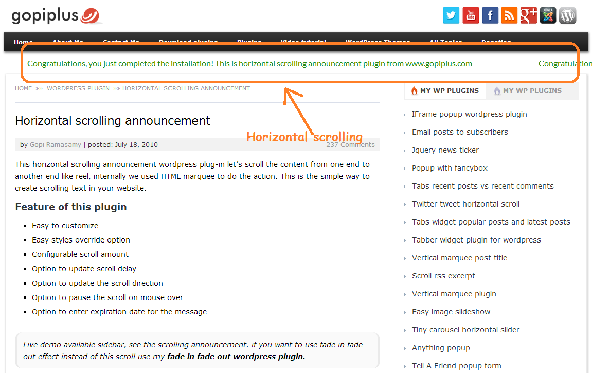 horizontal-scrolling-announcement screenshot 1