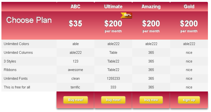 ind-css3-pricing-table screenshot 1