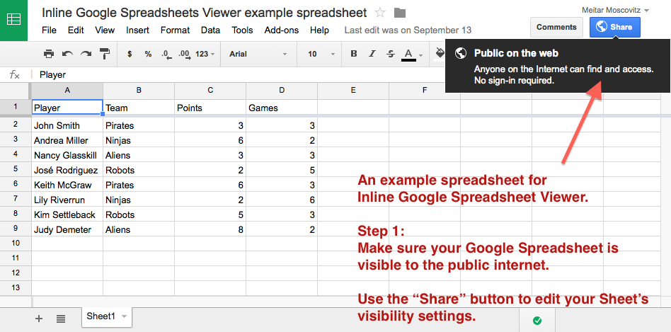 inline-google-spreadsheet-viewer screenshot 1
