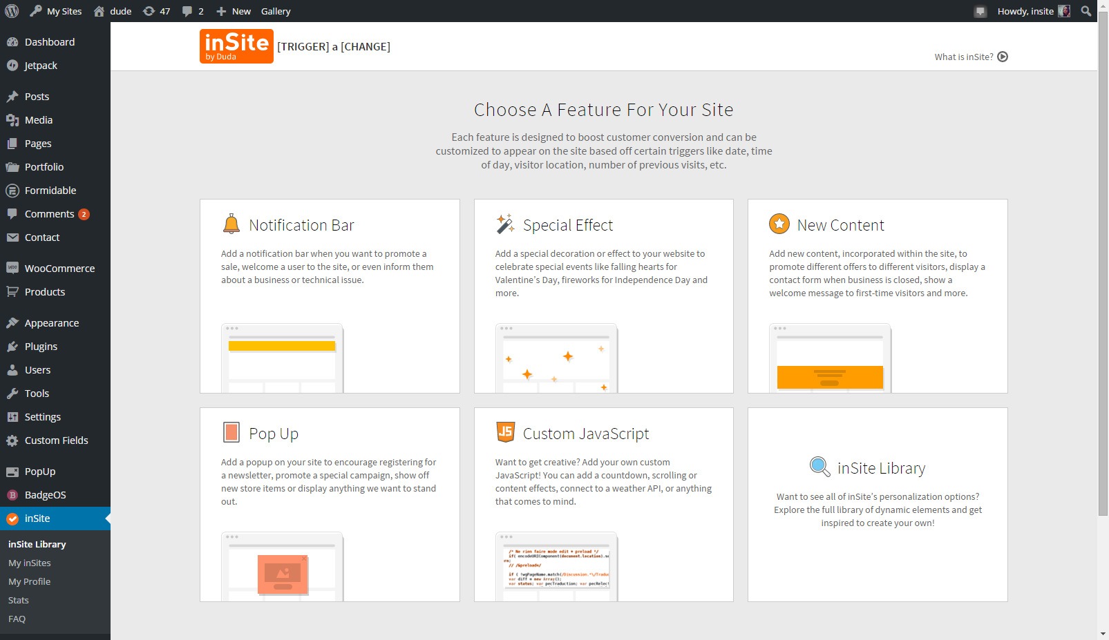 insite-for-wp-personalization-made-easy screenshot 1