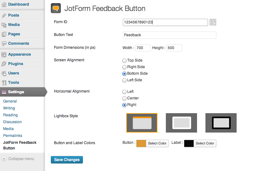 jotform-feedback-button screenshot 1