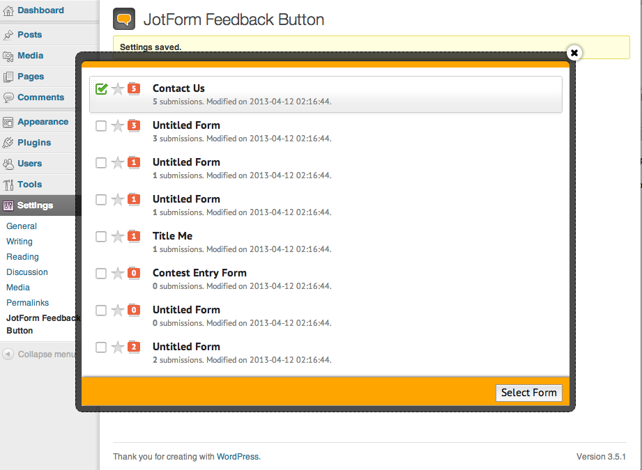 jotform-feedback-button screenshot 2