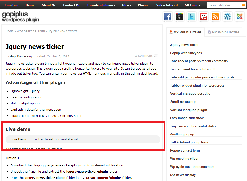 jquery-news-ticker screenshot 1