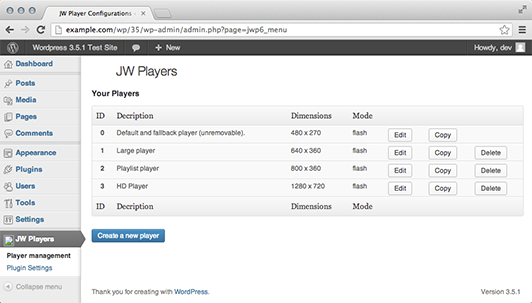jw-player-plugin-for-wordpress screenshot 2