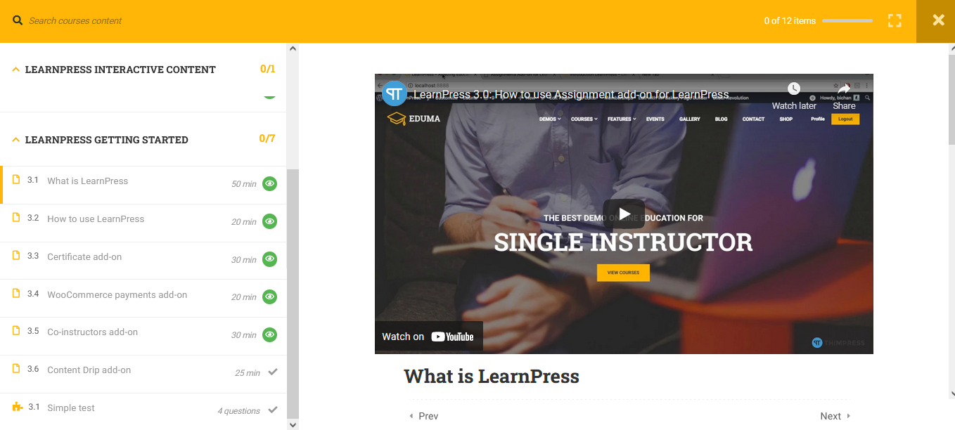 learnpress screenshot 2