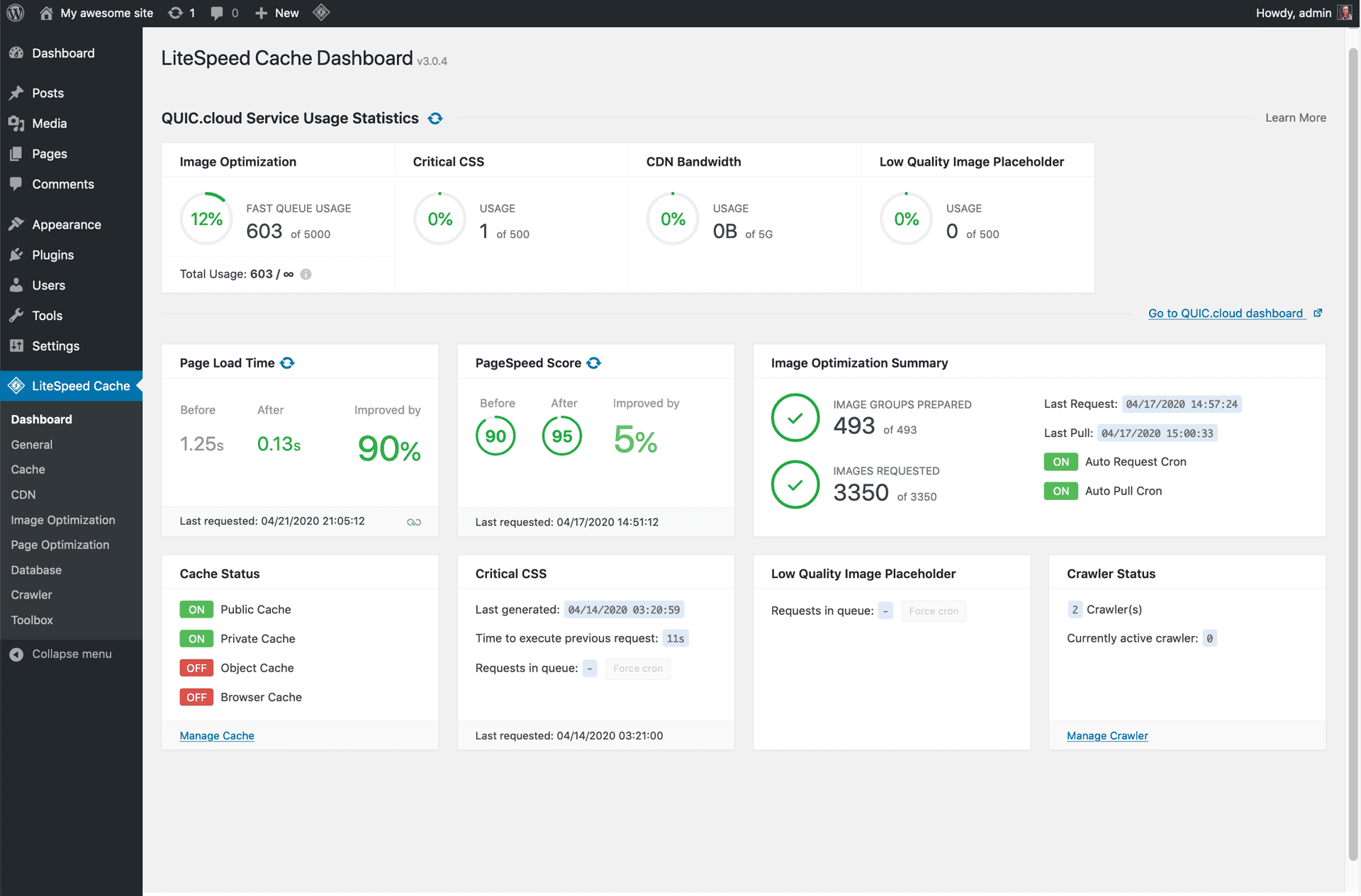 litespeed-cache screenshot 2
